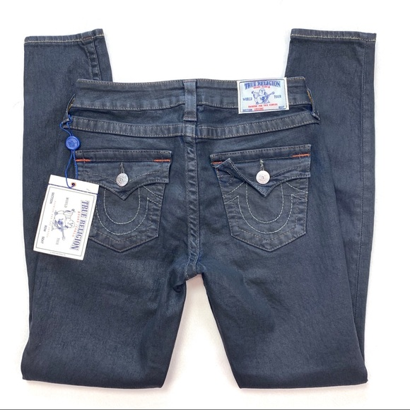 True Religion Denim - True Religion Leggings w/ Flap Black Coated Jeans